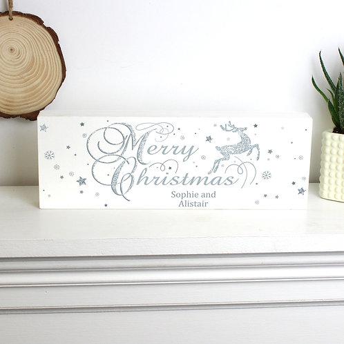 Personalised Silver Reindeer Wooden Block Sign (PMC)