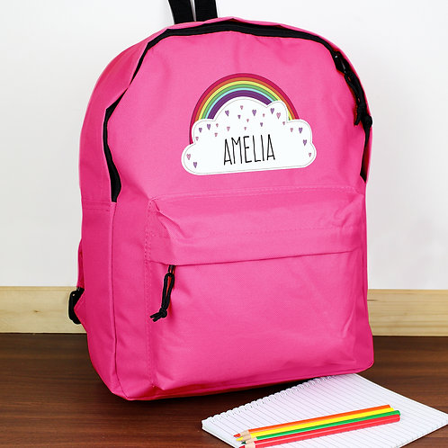 Personalised Rainbow Pink Backpack (PMC)