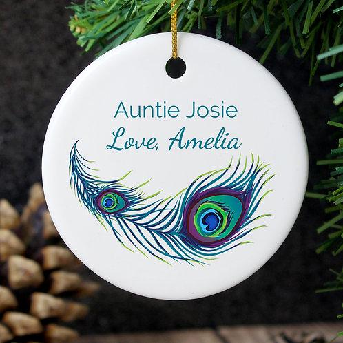 Personalised Peacock Round Ceramic Decoration (PMC)