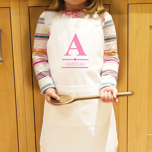 Personalised Girls Initial Children's Apron (PMC)