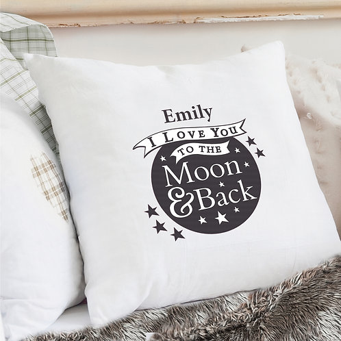 Personalised To the Moon and Back...Cream Cushion Cover (PMC)