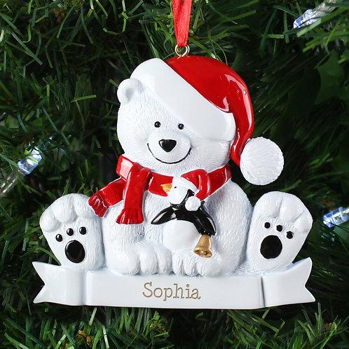 Personalised Polar Bear Resin Decoration (PMC)