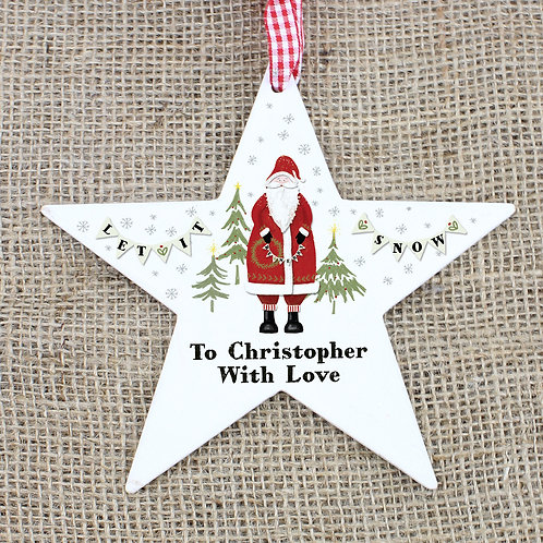 Personalised Father Christmas Wooden Star Decoration (PMC)