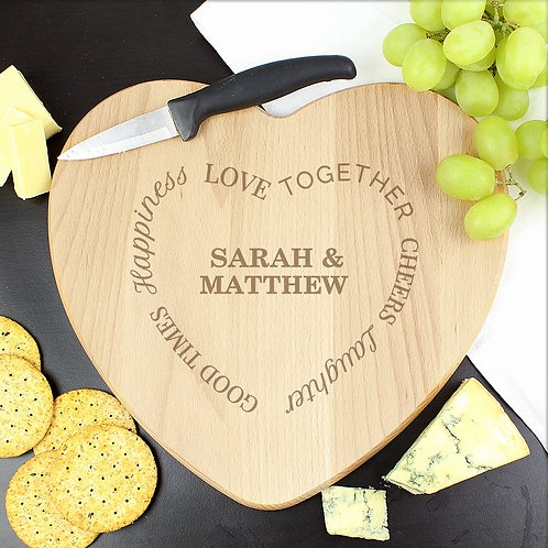 Personalised Good Times Heart Chopping Board (PMC)