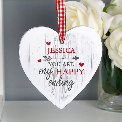 Personalised My Happy Ending Wooden Heart Decoration (PMC)