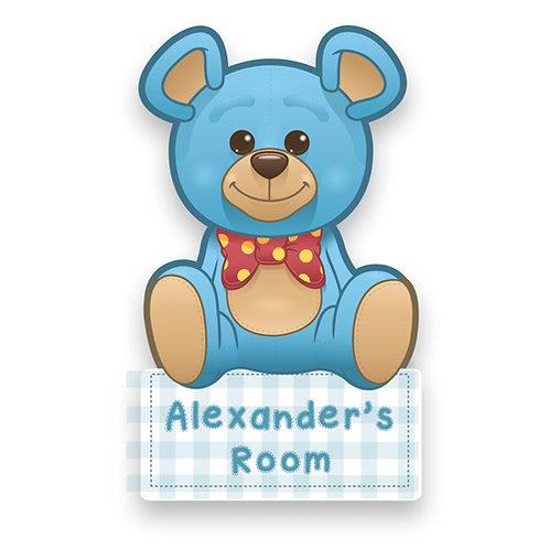 Blue Teddy Bear Door Plaque (PTG)