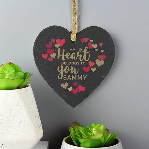 My Heart Belongs To You' Confetti Hearts Slate Heart (PMC)