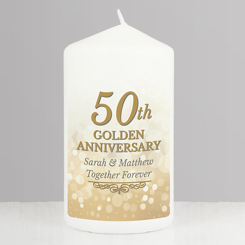 Personalised 50th Golden Anniversary Pillar Candle (PMC)