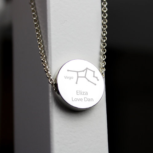 Personalised Virgo Zodiac Star Sign Silver Tone Necklace (PMC)