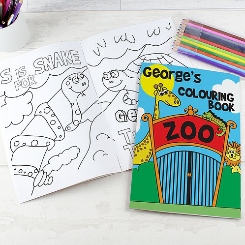 Personalised Zoo Colouring Book with Pencil Crayons (PMC)