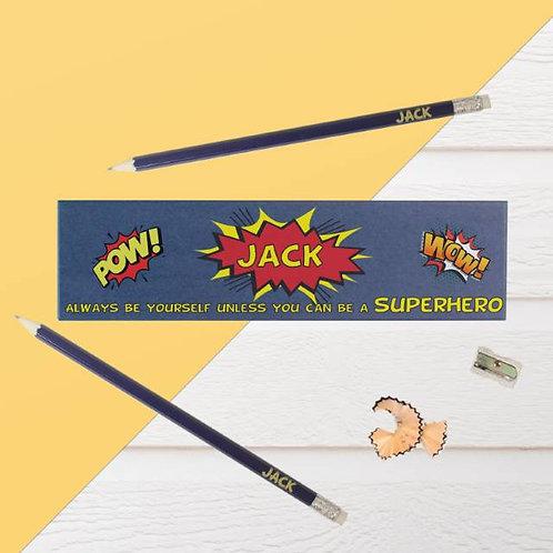 Always Be A Superhero Blue Pencil Box & Pencils