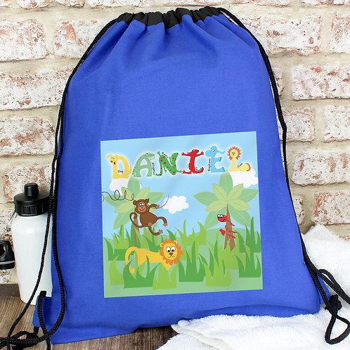 Personalised Blue Animal Alphabet Swim & Kit Bag (PMC)