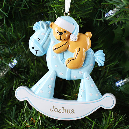 Personalised Blue Rocking Horse Resin Decoration (PMC)