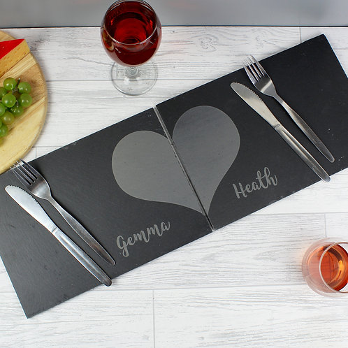 Personalised Two Hearts Slate Placemat Set (PMC)