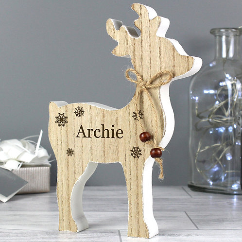 Personalised Any Name Rustic Wooden Reindeer Decoration (PMC)