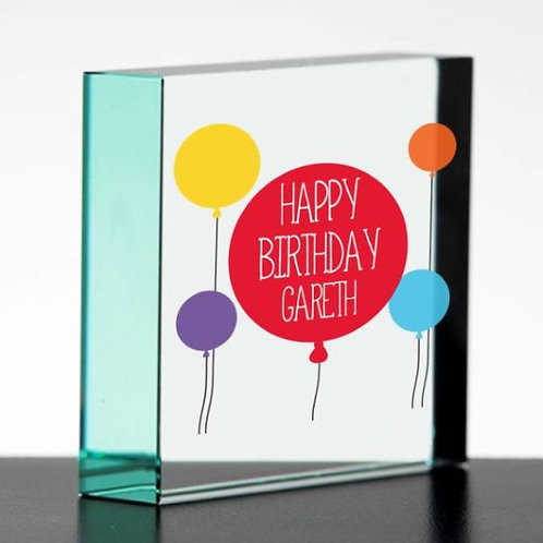 Happy Birthday Jade Glass Block