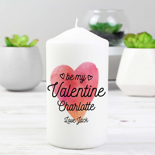 Personalised Be My Valentine Pillar Candle (PMC)