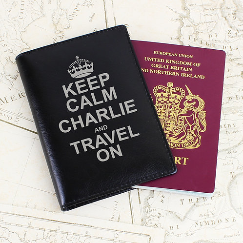 Personalised Keep Calm Black Passport Holder (PMC)