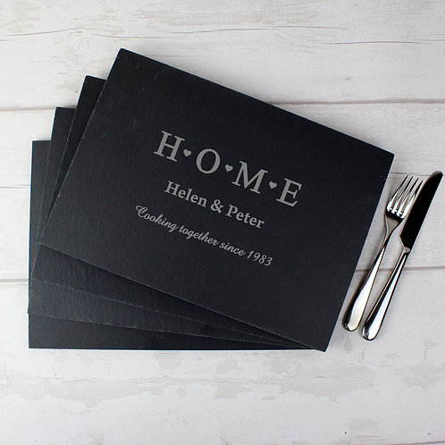 Personalised HOME Slate Rectangle Placemat 4 Pack (PMC)