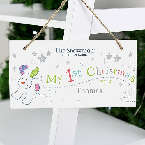 Personalised The Snowman and the Snowdog My 1st Christmas Wooden Sign (PMC)