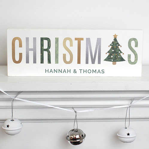 Personalised Christmas Wooden Block Sign (PMC)