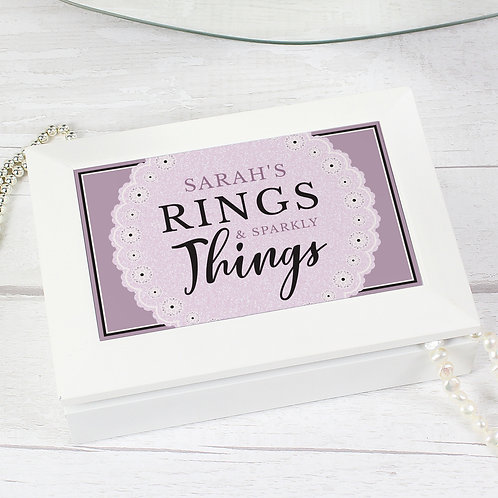 Personalised Lilac Lace 'Rings & Sparkly Things' Jewellery Box (PMC)