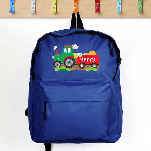 Personalised Tractor Blue Backpack (PMC)