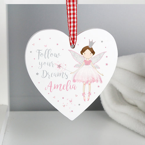 Personalised Fairy Princess Wooden Heart Decoration (PMC)