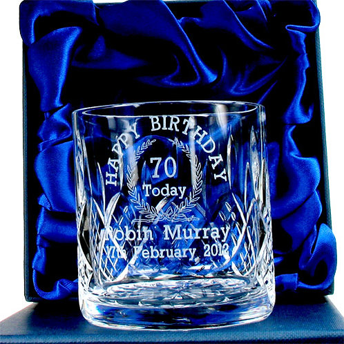 Engraved 70th Birthday Whisky Glass