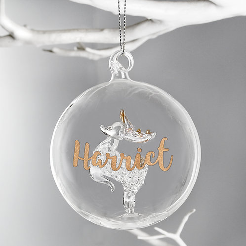 Personalised Gold Glitter Name Only Reindeer Glass Bauble (PMC)
