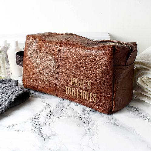 Personalised Luxury Brown leatherette Wash Bag (PMC)