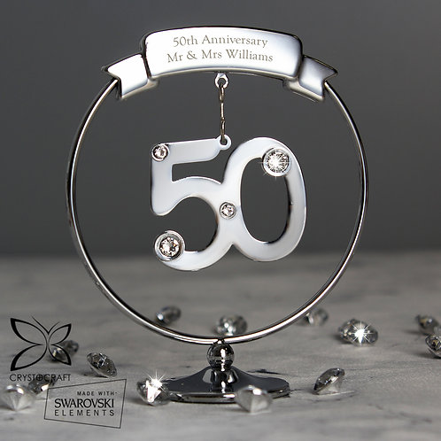 Personalised Crystocraft 50th Celebration Ornament (PMC)
