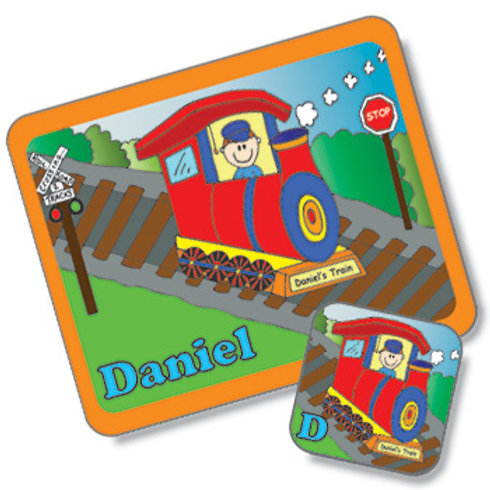 Train Design Placemat and Coaster Set (PTG)