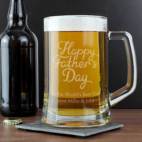 Personalised Happy Father's Day Glass Pint Stern Tankard (PMC)