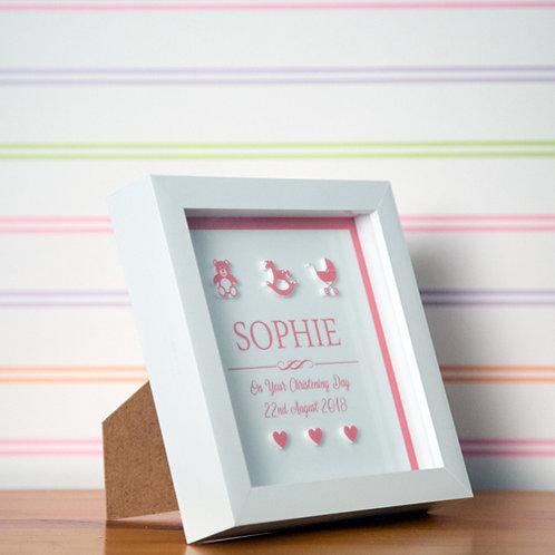 3D Christening Box Frame for a Baby Girl