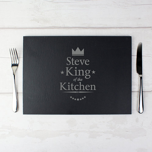 Personalised King of the Kitchen Slate Placemat (PMC)
