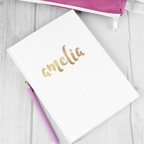 Personalised Gold Name Hardback A5 Notebook (PMC)