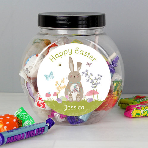 Personalised Easter Meadow Bunny Sweets Jar (PMC)