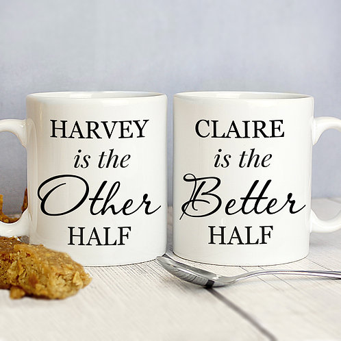 Personalised Other Half and Better Half Mug Set (PMC)