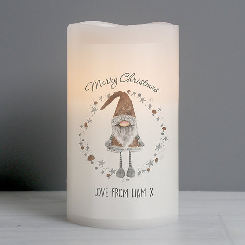 Personalised Scandinavian Christmas Gnome LED Candle (PMC)