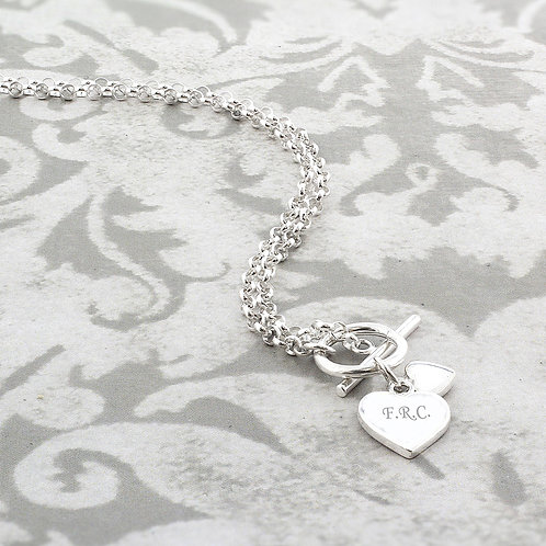 Personalised Hearts T-Bar Necklace (PMC)