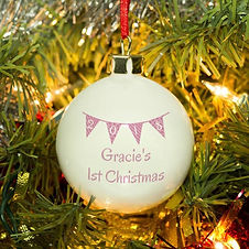 4002571 Pink Bunting Christmas Bauble 2.