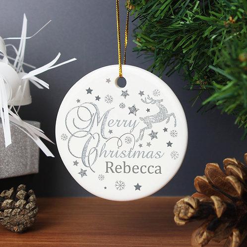 Personalised Silver Reindeer Round Ceramic Decoration (PMC)