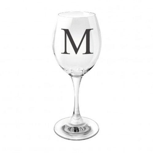 Black Monogram wine glass