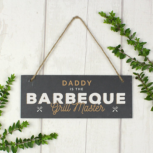 "Personalised """"Barbeque Grill Master"""" Printed Hanging Slate Plaque (PMC)"