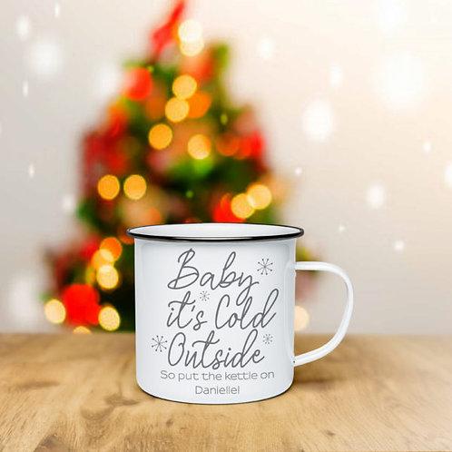Baby It?s Cold Outside Grey Enamel Mug