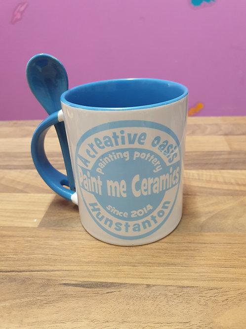 11oz Personalised mug two tone mug and spoon set