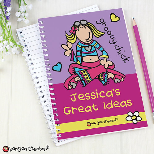 Personalised Bang on the Door Groovy Chick A5 Notebook (PMC)