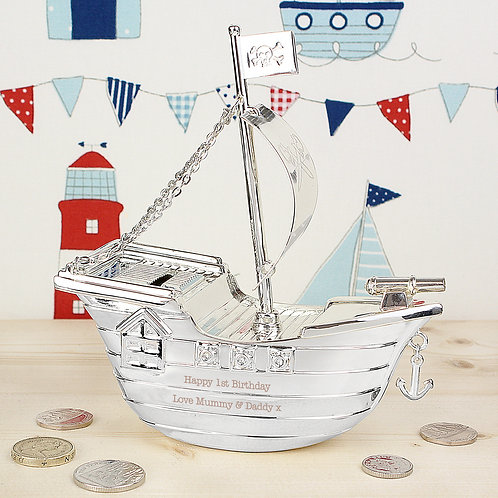 Personalised Pirate Ship Money Box (PMC)