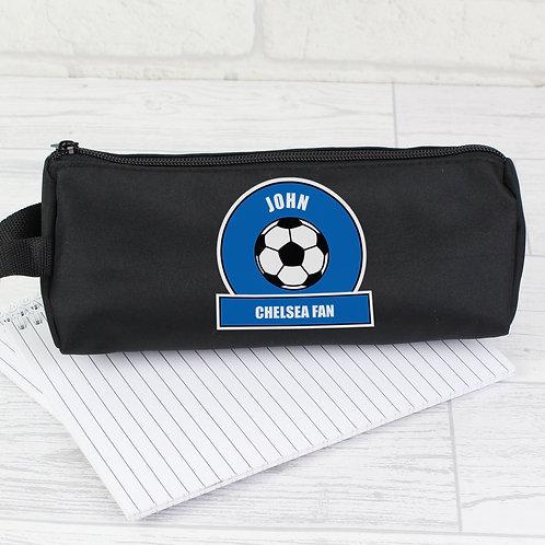 Personalised Dark Blue Football Fan Pencil Case (PMC)